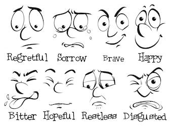 Face humana com emoção diferente