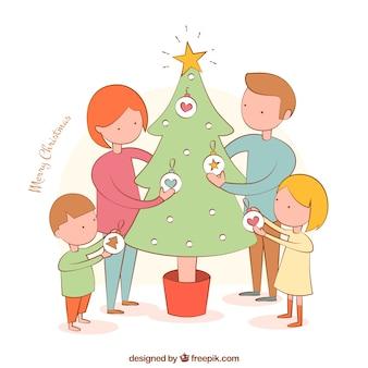 Família árvore decoração