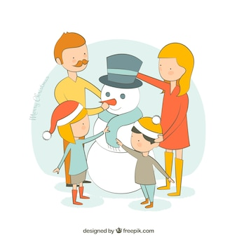 Família do Natal esboçado