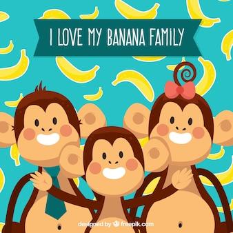 Família, macaco, fundo