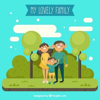 Família unida em um lindo parque