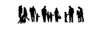 Familiares de pessoas silhuetas vetor pacote