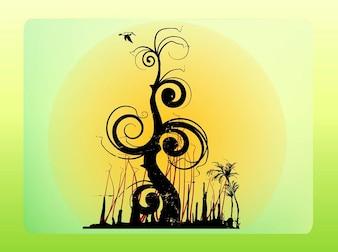 Fantasia de árvore da floresta e vetor do pássaro