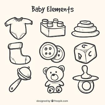 Fantástica coleção de elementos desenhados à mão para bebês