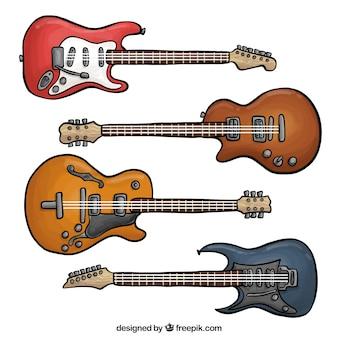 Fantásticas guitarras elétricas em cores diferentes
