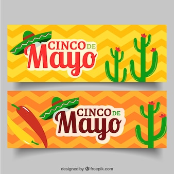 Fantástico banners cinco de mayo com elementos coloridos