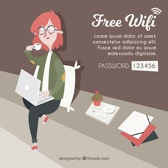 Fantástico, fundo, mulher, laptop, wifi, zona