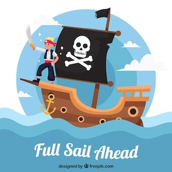 Fantástico, fundo, pirata, velejando