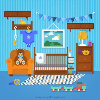 Fantástico quarto do bebê com móveis de madeira e parede em tons de azul