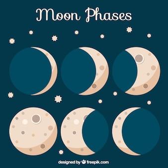 Fases da lua com estrelas