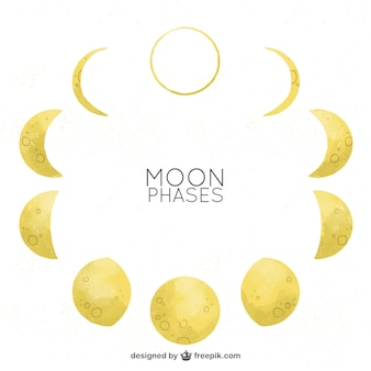 Fases da lua em efeito aquarela