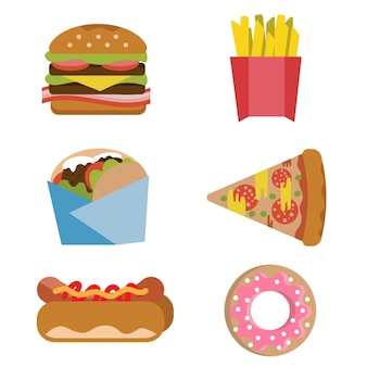 Fast food burger fries hot dog donut flat vector set