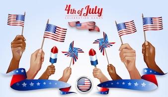 Feliz 4 de julho Celebração do Dia da Independência Americana Hands Overlays