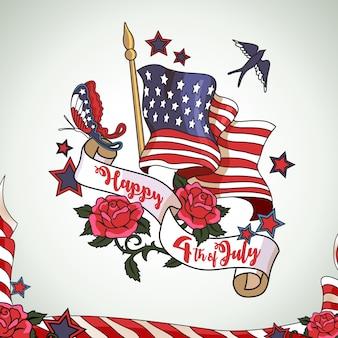 Feliz 4 de julho Design de fundo do Dia da Independência Americana
