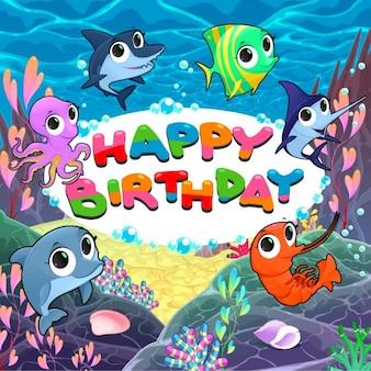 Feliz aniversário com peixes engraçados
