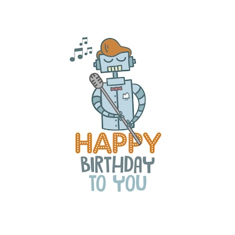 Feliz aniversário robô fundo