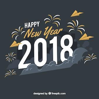 Feliz ano novo 2018 de fundo em estilo vintage
