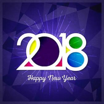 Feliz ano novo 2018 design de texto Vector ilustração de saudação com números dourados e floco de neve
