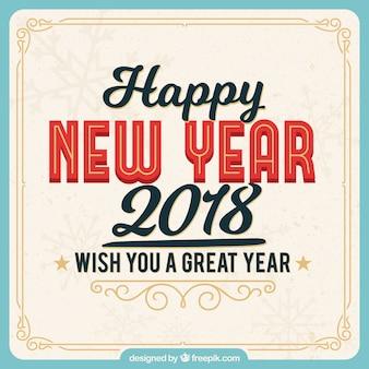 Feliz ano novo 2018 fundo retro