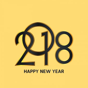Feliz ano novo 2018 Text Design Ilustração vetorial Black Typography Yellow Background