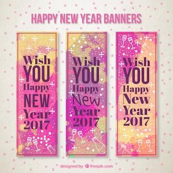 Feliz ano novo banners no estilo da aguarela