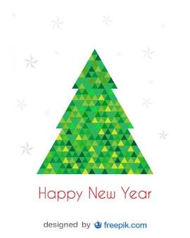 Feliz Ano Novo cartão da árvore de Natal feita com triângulos verdes e amarelas