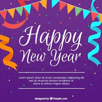 Feliz ano novo, celebração, fundo roxo