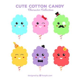 Feliz conjunto de doces de algodão sorrisos