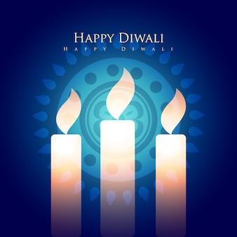 Feliz design diwali com velas