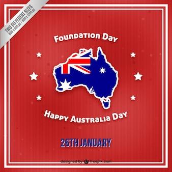 Feliz Dia da Austrália em um fundo vermelho retro