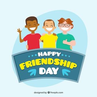 Feliz dia do dia da amizade com amigos sorridentes