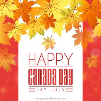 Feliz dia do dia do Canadá com folhas secas