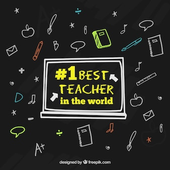 Feliz dia dos professores, fundo preto com elementos desenhados à mão