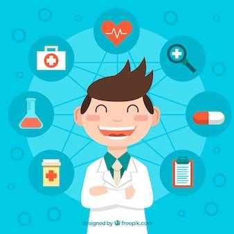 Feliz jovem médico com elementos de saúde