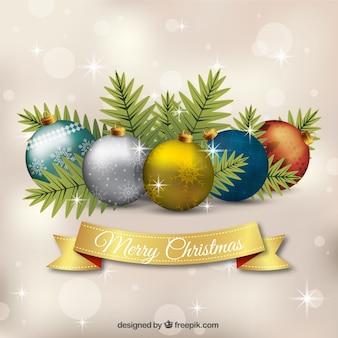 Feliz Natal com bolas realistas