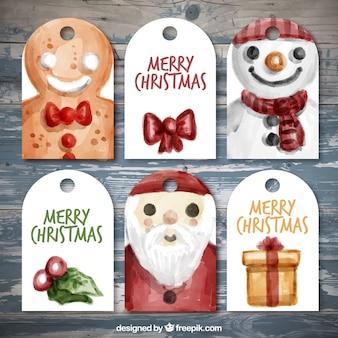 Feliz Natal com recolha etiquetas aquarela