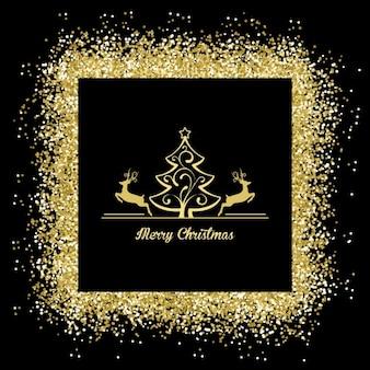 Feliz Natal com um quadro dourado