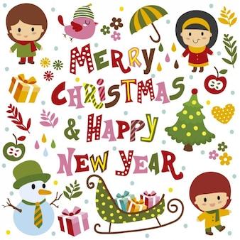 Feliz Natal e cartão do ano novo feliz