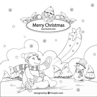 Feliz Natal, fundo, bonito, desenhado, desenhado, cena