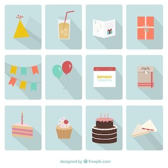 Felizes ícones da festa de aniversário
