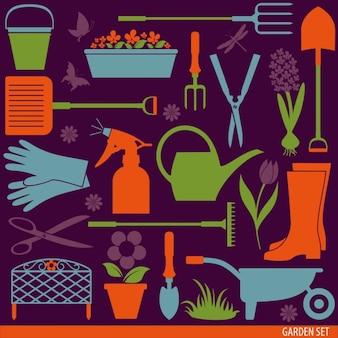 ferramentas de jardinagem planas definir