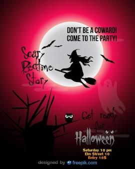 Festa de halloween bruxa voando modelo vermelho