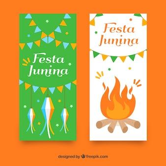 Festa junina bandeiras com fogo