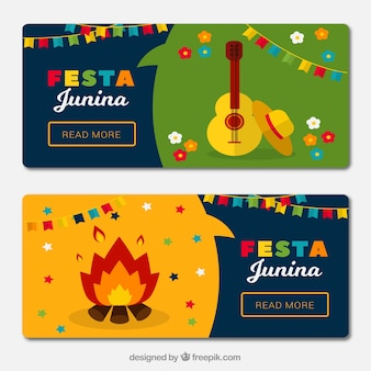Festa junina banners com fogueira e guitarra