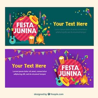 Festa junina banners em design plano