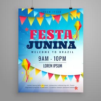 Festa junina comemoração poster flyer design com decoração guirlanda
