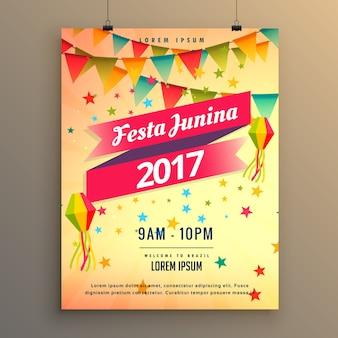 Festa junina design de cartaz de celebração de festa com elementos decorativos