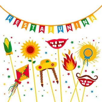 Festa Junina festa da aldeia na América Latina Icons set na cor brilhante decoração estilo Plano