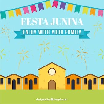 Festa junina fundo com fogos de artifício