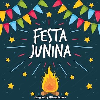 Festa junina fundo com fogueira e estrelas
